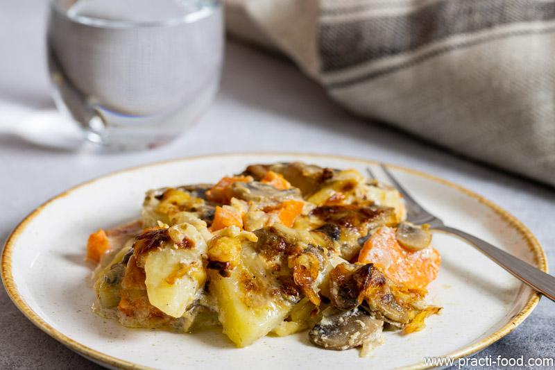 מאפה תפוחי אדמה שמנת ופטריות